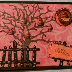 Halloween Tree Card w/ Bottle Cap Magnet