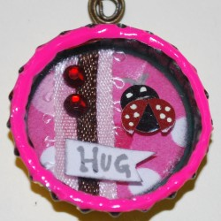 """Hug A Bug"" Shadow Box Bottle Cap Necklace (Front)"