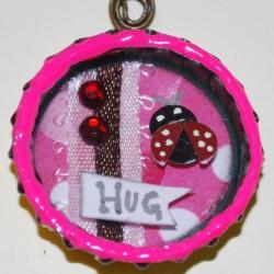 """Hug A Bug"" Shadow Box Bottle Cap Necklace (Front)"